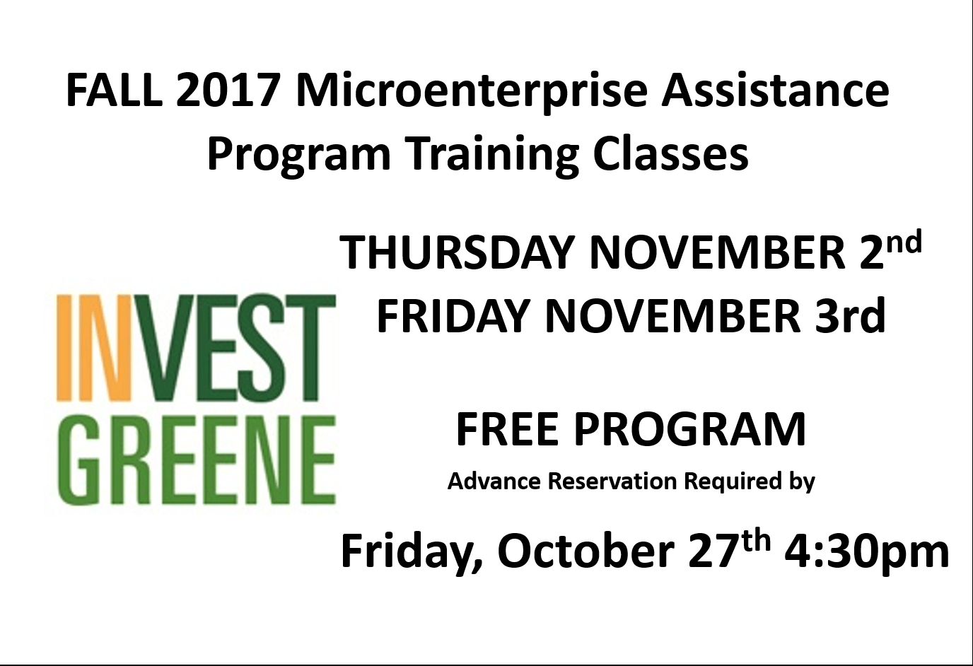 Fall 2017 Microenterprise Assistance Program Training Classes November 2nd & 3rd