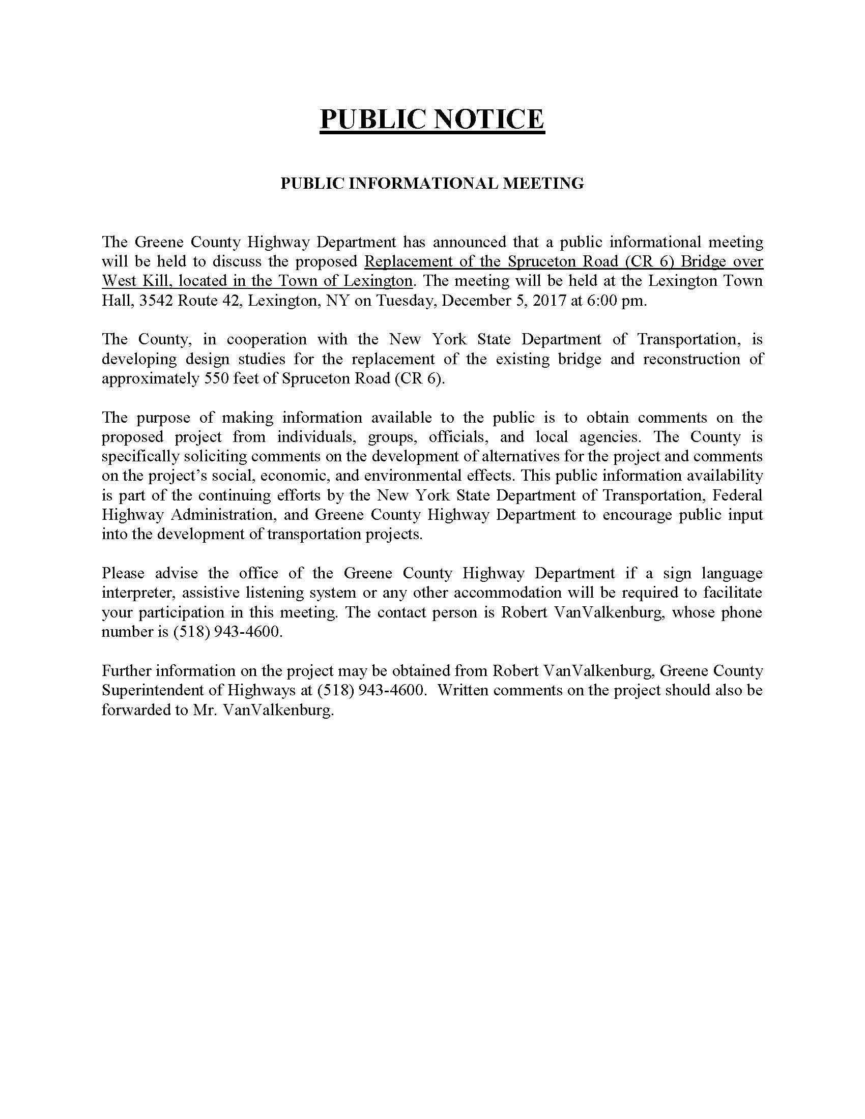 Public Notice - Public Informational Meeting - Replacement