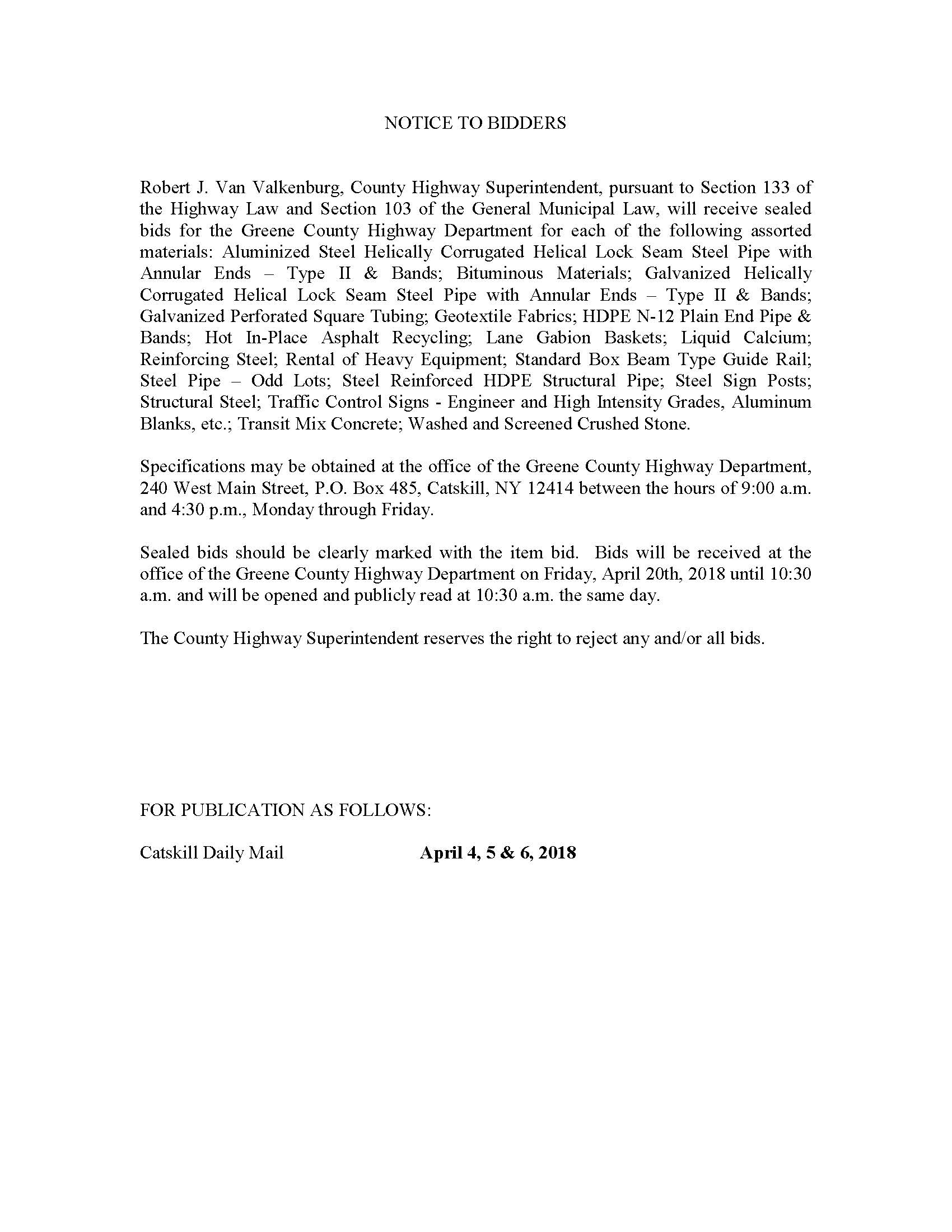 Notice To Bidders - Materials & Stone - Greene Government